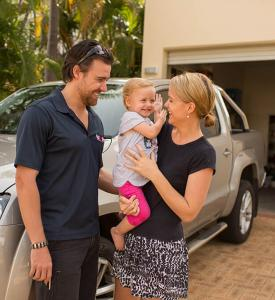 Happy Family in driveway