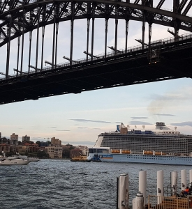 Sydney Harbour Bridge and Cruise Ship