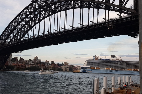 Sydney Harbour Bridge and Cruise Ship